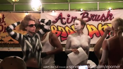Busty Babes Receive Body Painting In Public Club