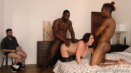 Husband Watches As Two Black Dudes Fuck His Wife In A Porn Clip